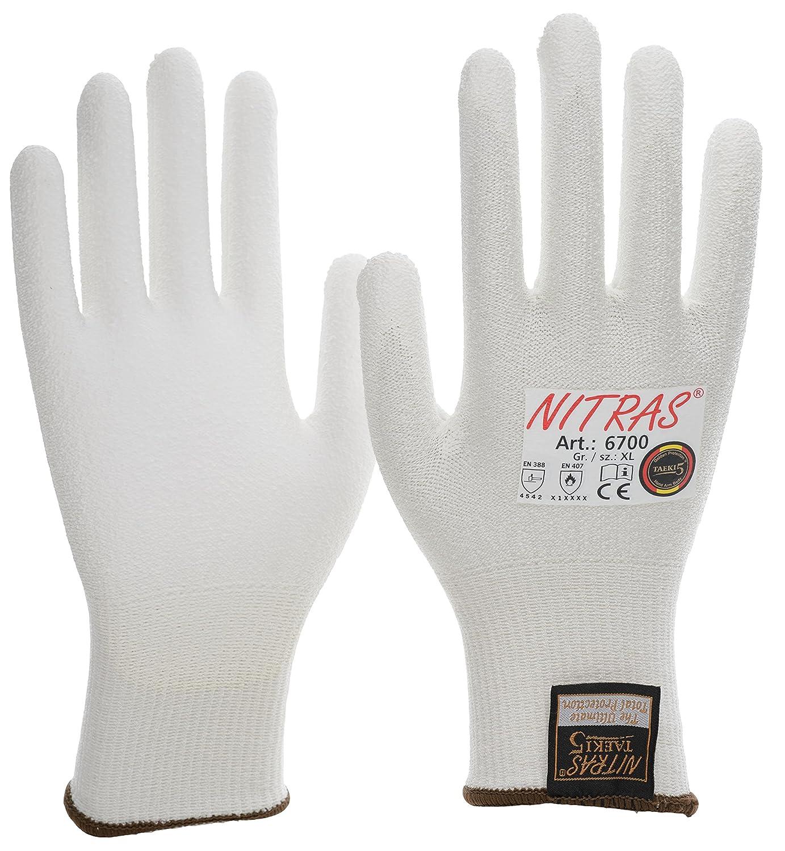 20 Paar NITRAS 6700 Schnittschutzhandschuhe Taeki5, Stufe 5, PU Beschichtung, weiss, Gr. S - XXL (XL)