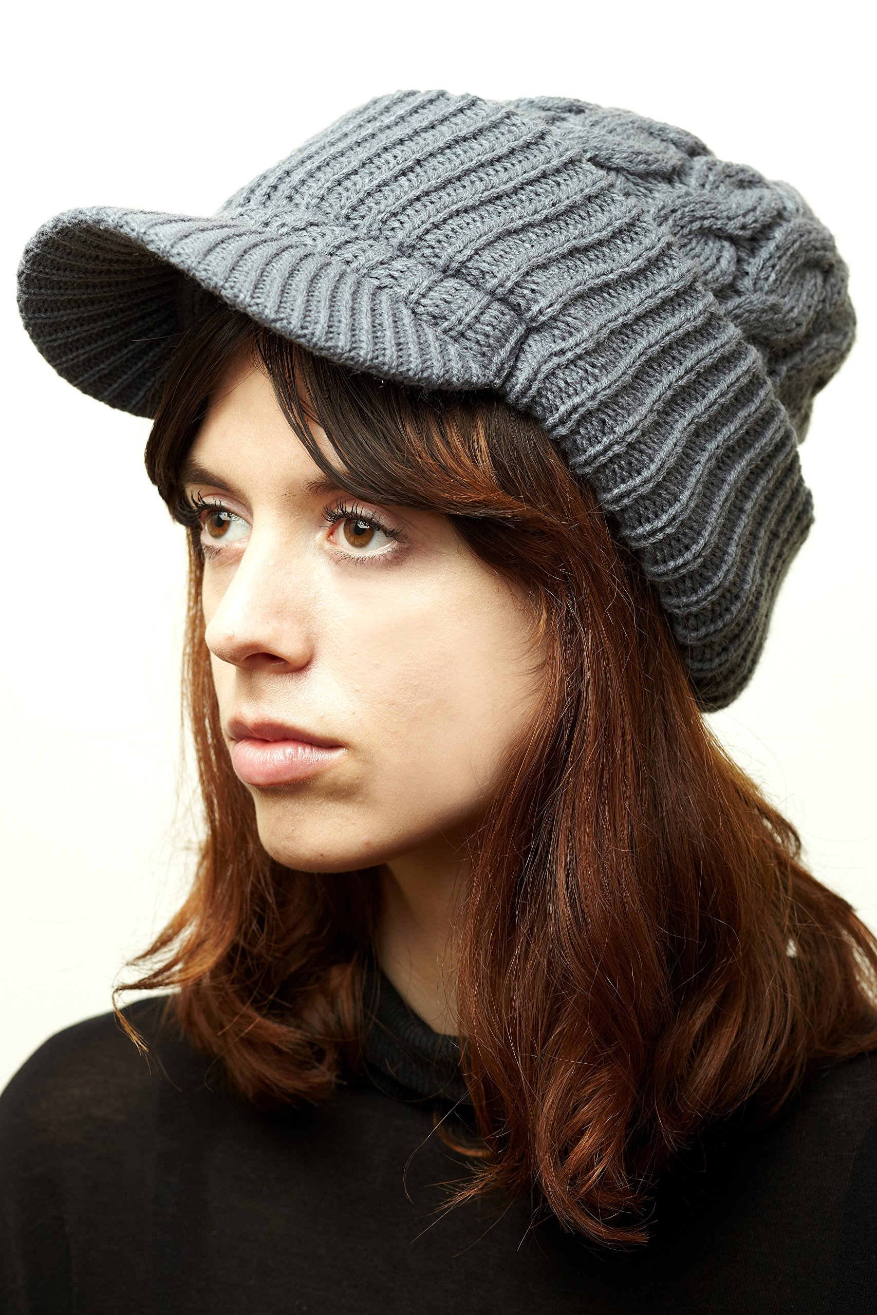 Newsboy Jeep knitted hat with short cute trendy visor winter warm for women (One Size Fits Most, LightGray_Heavyweight)