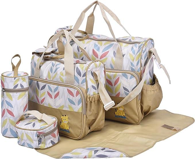 Sothat Set 5 kits Bolsa de Mama Para Biberon Bolso//Bolsa//Bolsillo Maternal para carro carrito biberon colchoneta comida Panal de color Negro