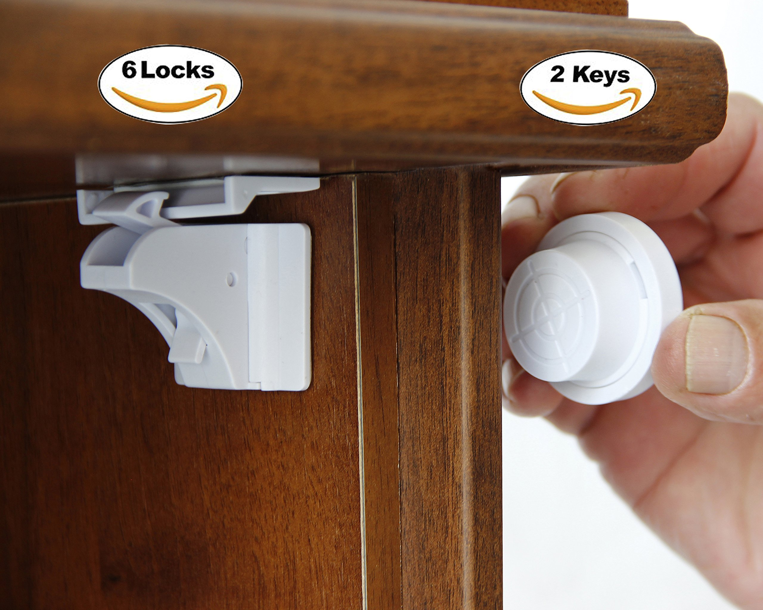 Cabinet Locks Child Safety Childproof Drawer Locks Baby Magnetic Locking System with 3M Adhesive Tape No Drilling Easy to Install Safety Kit Cabinet & Drawer Latches 6 + 2 Keys+ 2 Adjustable Straps