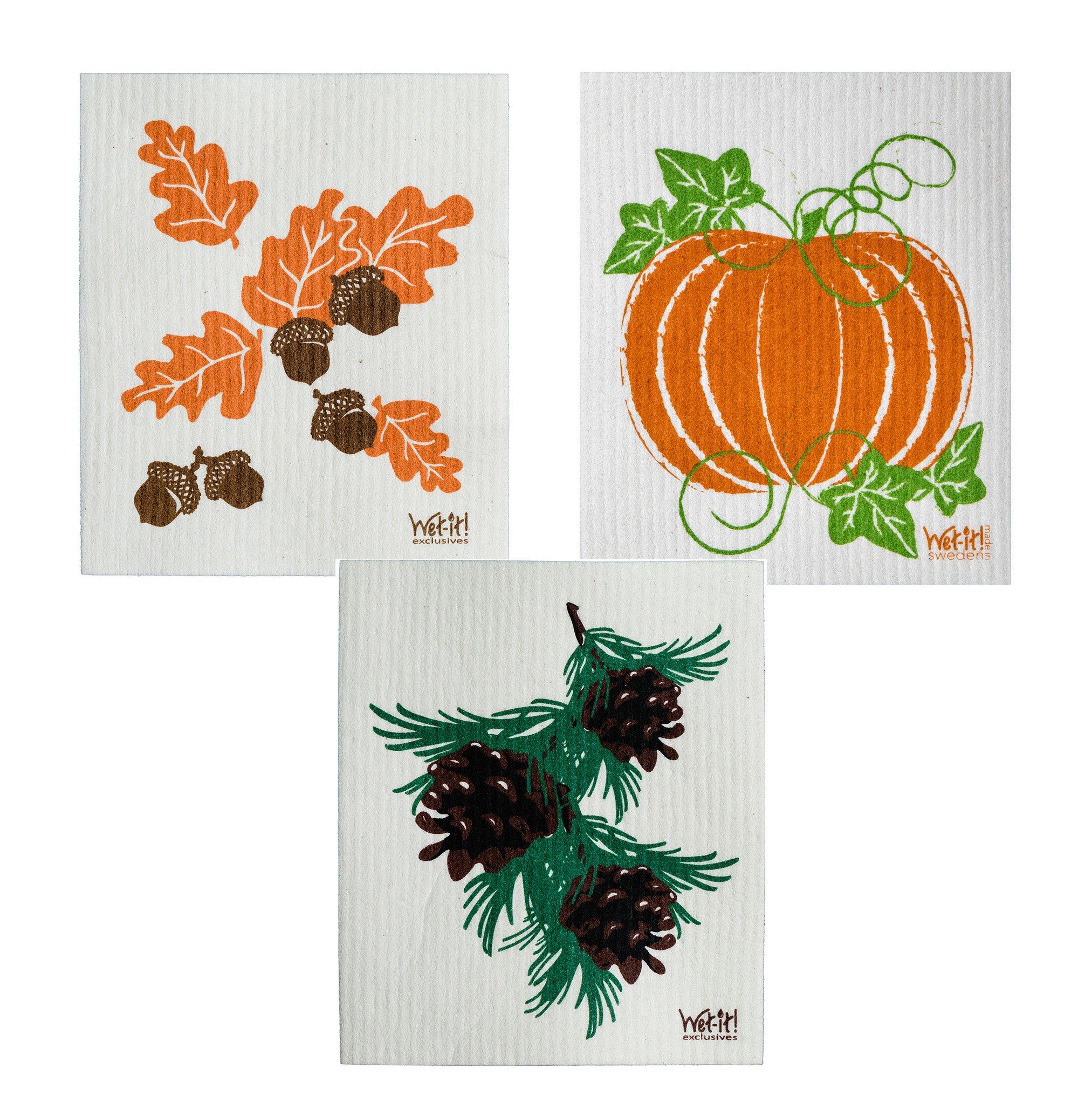 Wet-It Swedish Dishcloth Set of 3 - Fall Leaves and Acorns, Pinecones, Pumpkin - NEW