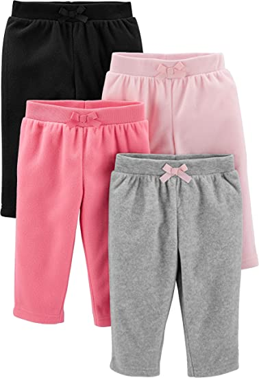 Simple Joys By Carter S Paquete De 4 Pantalones De Forro Polar Pantalones Casuales Para Bebes Ninas Amazon Com Mx Ropa Zapatos Y Accesorios
