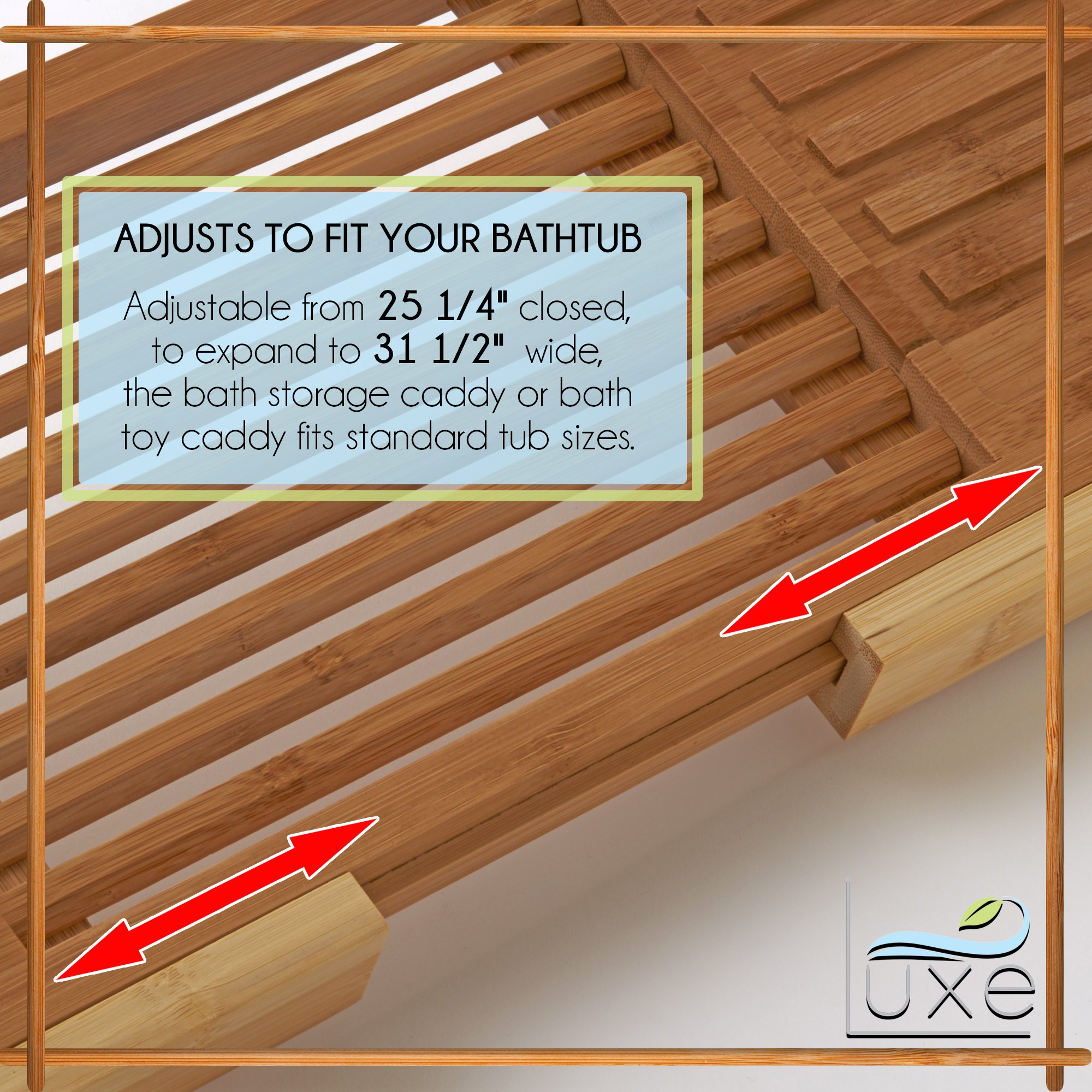 Luxe Expandable Bamboo Bathtub Caddy Adjustable Wooden Serving Tray & Organizer w Book Reading Rack, Wine Glass Holder by Luxe (Image #4)