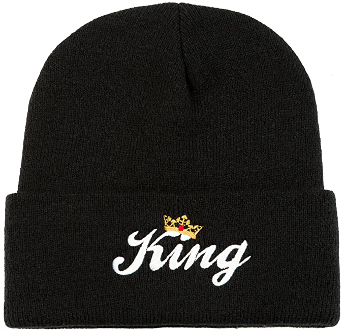 6f91014ca52b7 King - Matching Couple Beanies - His and Hers Cap Hats Winter Knit Skull Cap