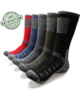 MIRMARU Mens 5 Pairs Multi Performance Outdoor Sports Hiking Trekking Crew Socks