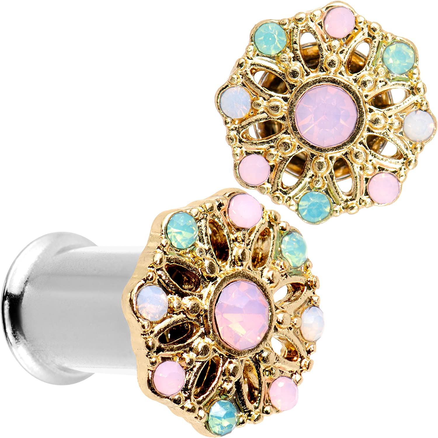 Body Candy Steel Pink Green White Accent Glam Flower Double Flare Tunnel Plug Set of 2 6mm to 25mm