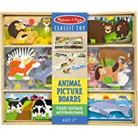 Melissa & Doug Wooden Animal Picture Puzzle Boards with Chunky Wooden Animal Playpiece (24 Pcs) Toy