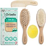 Chibello 4 Piece Wooden Baby Hair Brush and Comb Set | Natural Goat Bristles Hair Brush for Cradle Cap Treatment | Wood Bristle Brush for Newborns and Toddlers | Best Baby Shower and Registry Gift