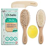 Chibello 4 Piece Wooden Baby Hair Brush and Comb Set | Natural Goat Bristles Brush for Cradle Cap Treatment | Wood Bristle Brush for Newborns and Toddlers | Perfect for Baby Shower and Registry