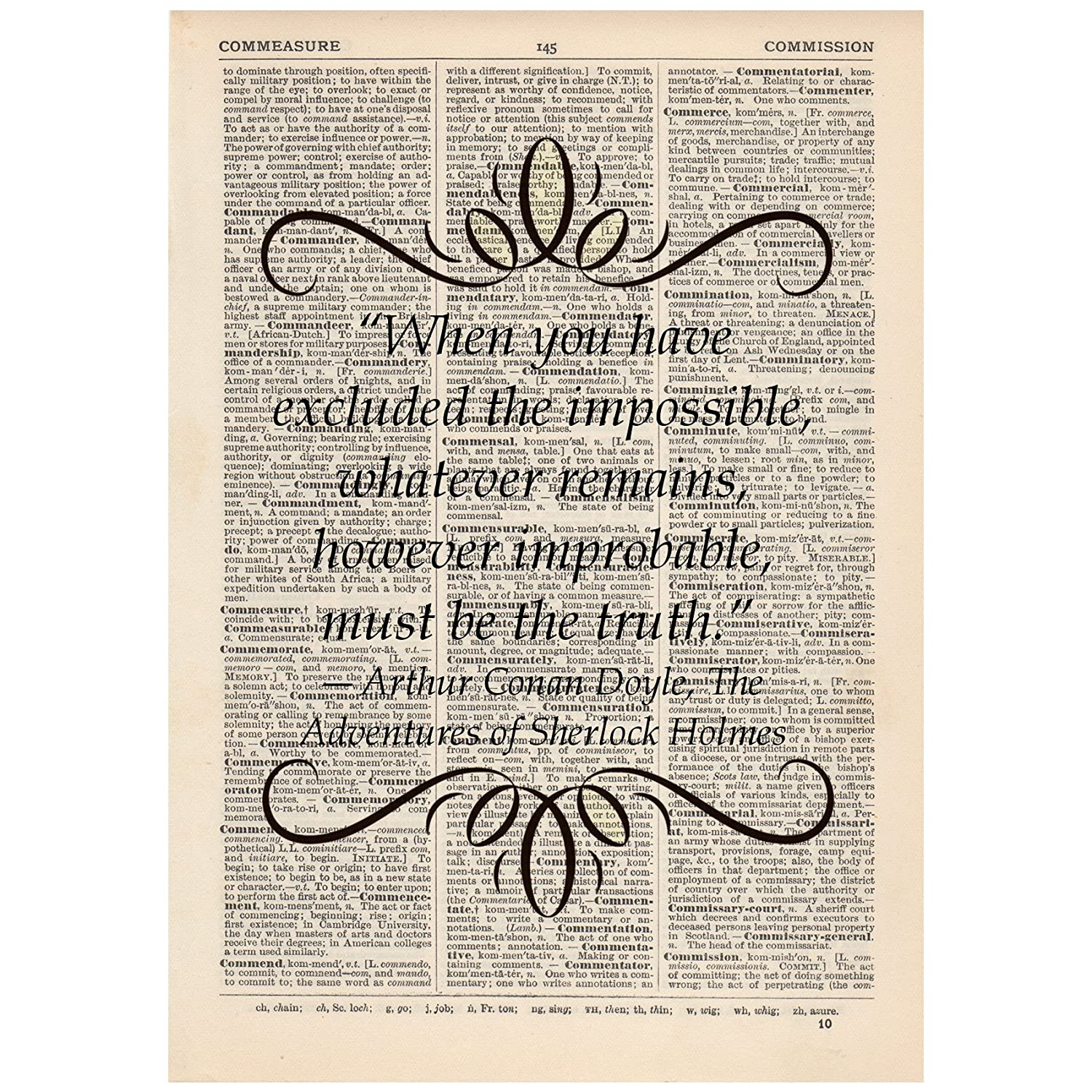 When you have excluded the impossible Dictionary Art Print Book Sherlock Quote Fallen Saint DICPB0505