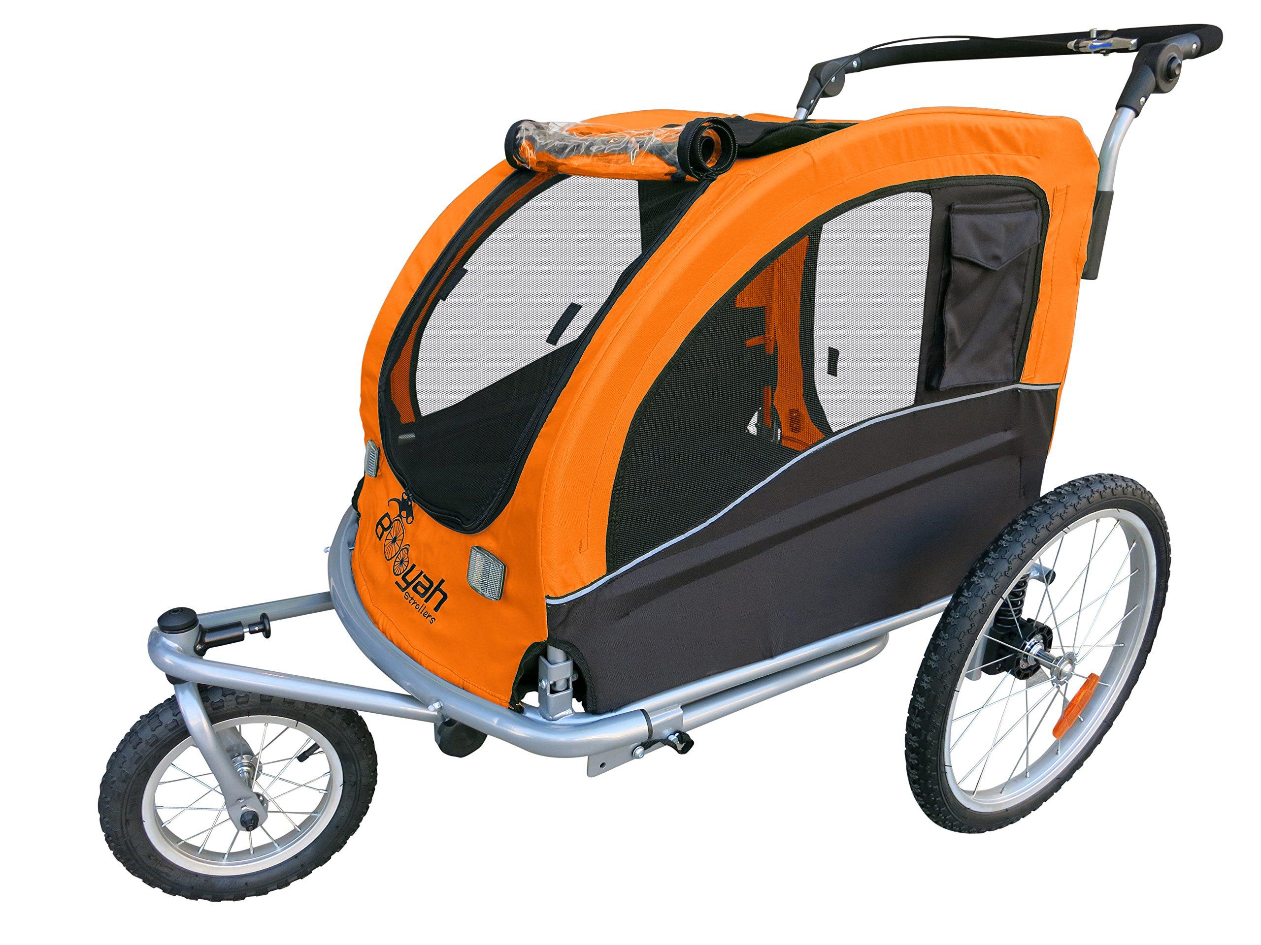 Large Pet Dog Stroller and Bike Bicycle Trailer with Suspension/shocks (Orange)