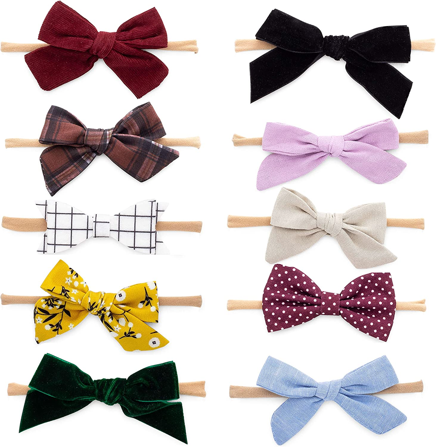 Parker Baby Girl Headbands and Bows, Assorted 10 Pack of Hair Accessories for Girls