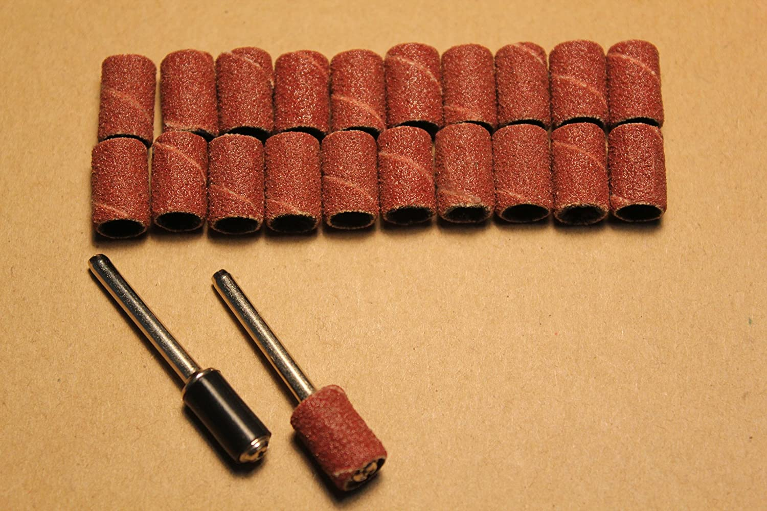 20 X Sand Drums Grit 120 with 2 Mandrels Rotary Tool (Small) MOOOONSTAR.CN