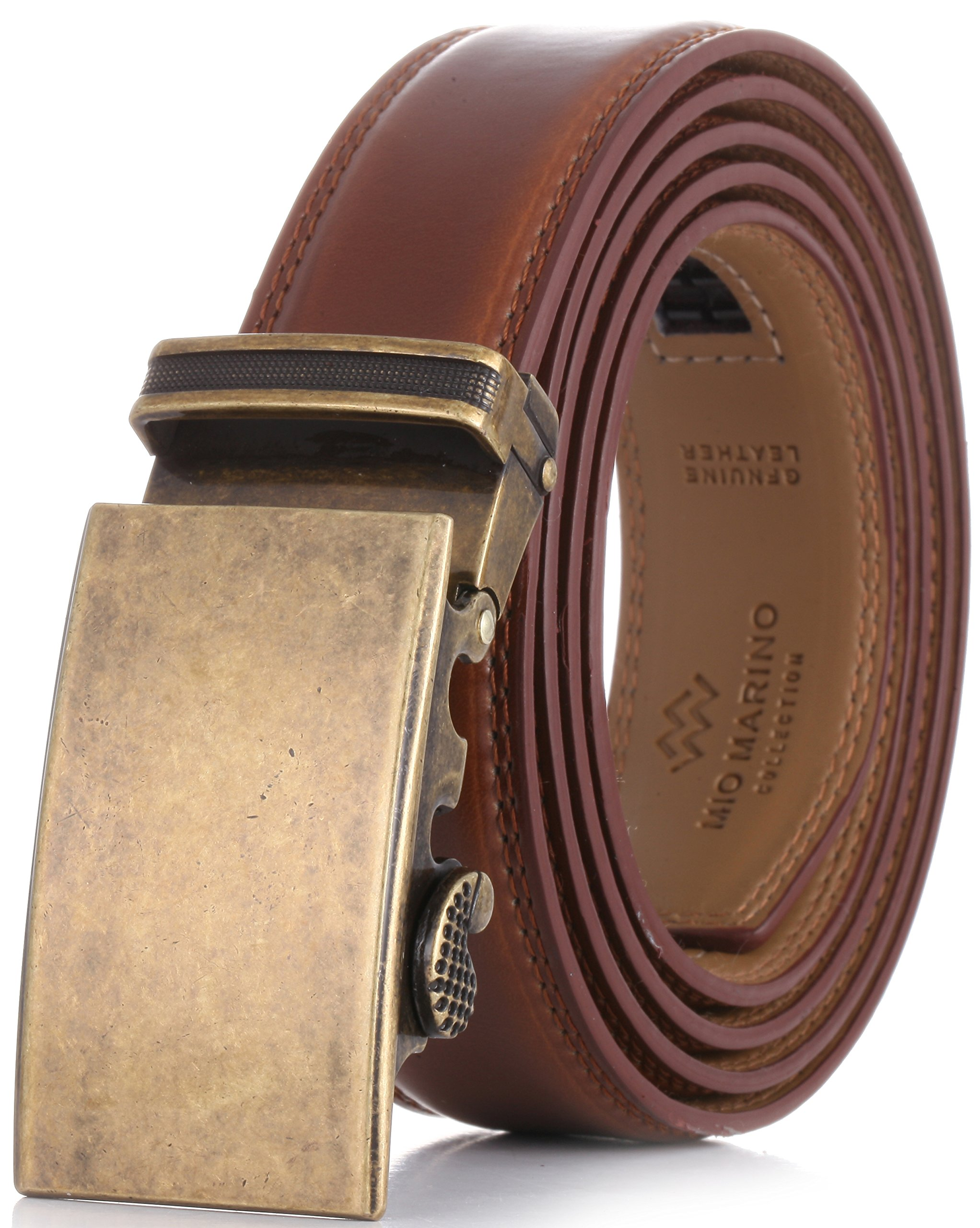 Marino Men's Genuine Leather Ratchet Dress Belt With Automatic Buckle, Enclosed in an Elegant Gift Box - Burnt Umber - Adjustable from 28'' to 44'' Waist