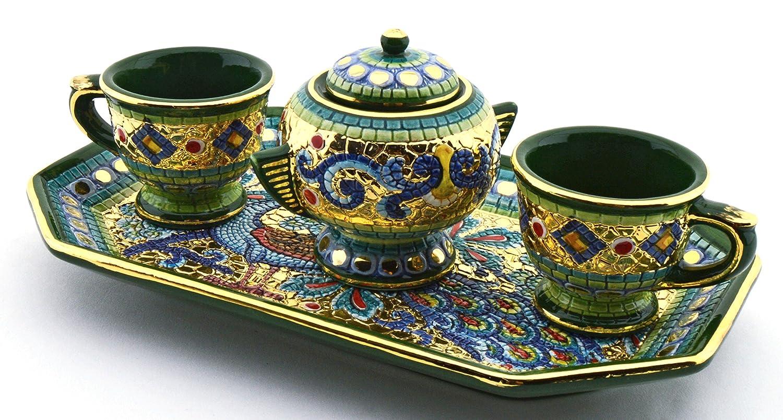 Art Escudellers Servicio CAFÉ X2 Tazas con AZUCARERO Ceramica Pintado a Mano con Oro de 24K, Decorado al Estilo BIZANTINO Verde.