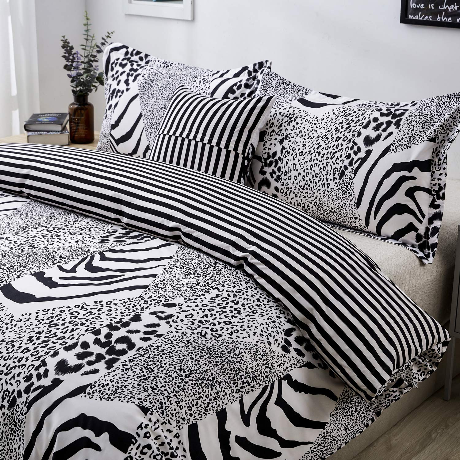 Black and White Bedding Leopard Print Duvet Cover Set Queen Zebra Giraffe Leopard Tiger Stripes Print Bedding Safari Animal Print Bedding with 2 Pillow Shams