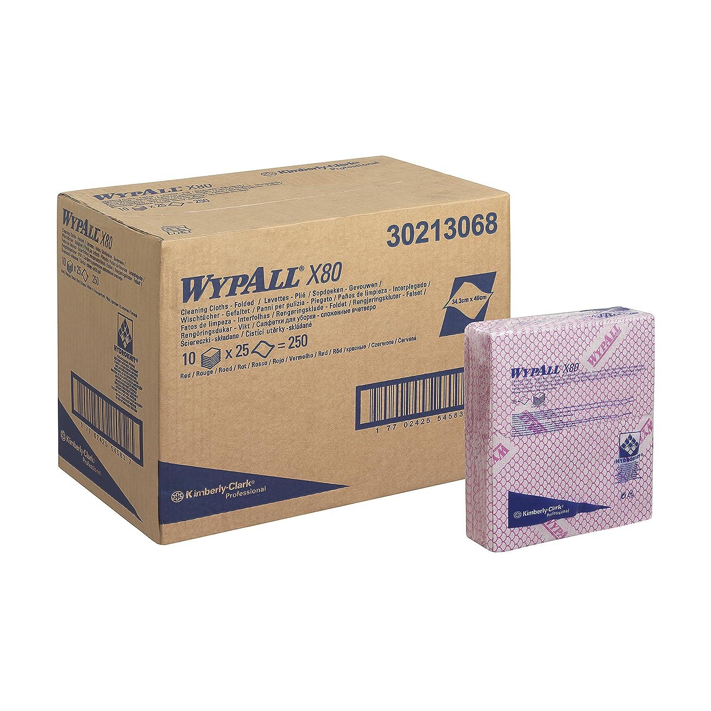 WypAll 13068 X 80クリーニングクロス、¼折り、10 cm x 25 cm、1プライ、レッド(10個入り) B01KZCEDM8