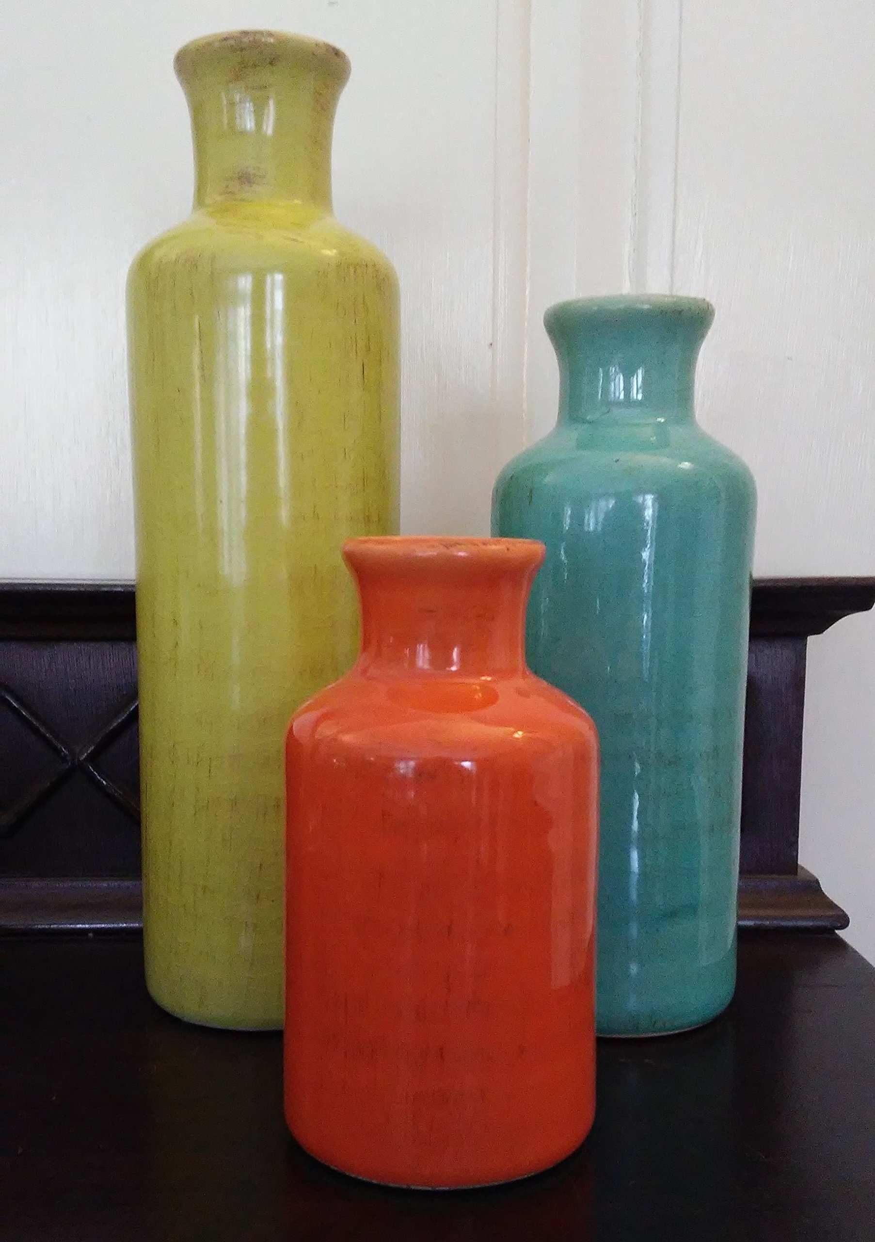 "Sullivans 5-10"" Set of 3 Decorative Crackled Vases in Orange, Green, and Blue - Set of 3 ceramic bottles with crackled, distressed colored glazes of chartreuse, aqua, and burnt orange Their fun colors will complements almost any decor and add just the right touch for favorite stems or to simply stand alone Measure 5, 7, and 10 inches high, with a 1 inch opening and are water tight - vases, kitchen-dining-room-decor, kitchen-dining-room - 91E2zD0LXzL -"