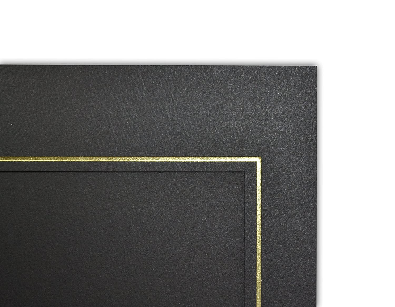 GS002 Black Color Cardboard Photo Folder For 3 4x6 Photo Pack of 50 Golden State Art