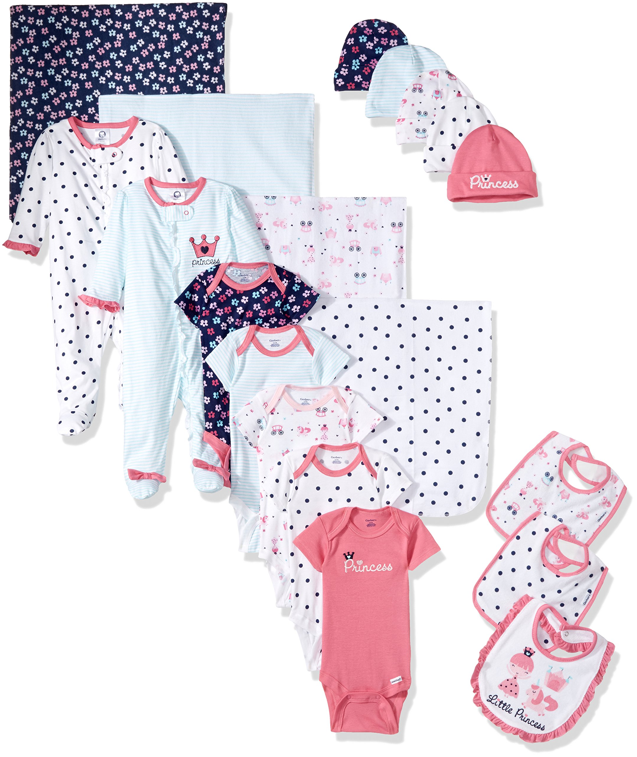 GERBER Baby Girls' 19-Piece Essentials Gift Set, Pink Princess, Newborn by GERBER