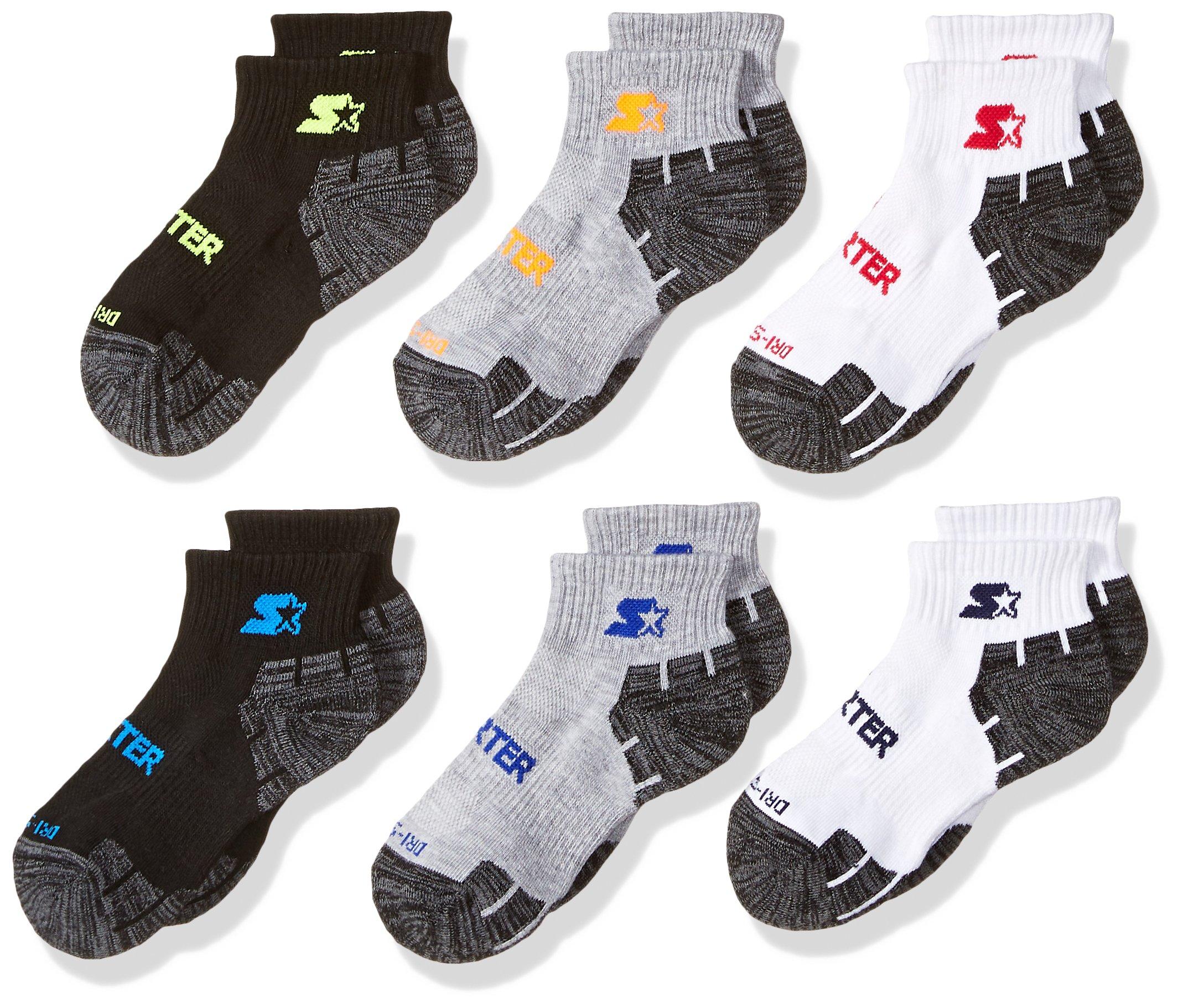 Starter Boys' 6-Pack Quarter-Length Athletic Socks, Amazon Exclusive, White/Black/Vapor Grey, Small (Shoe Size 9-3.5)