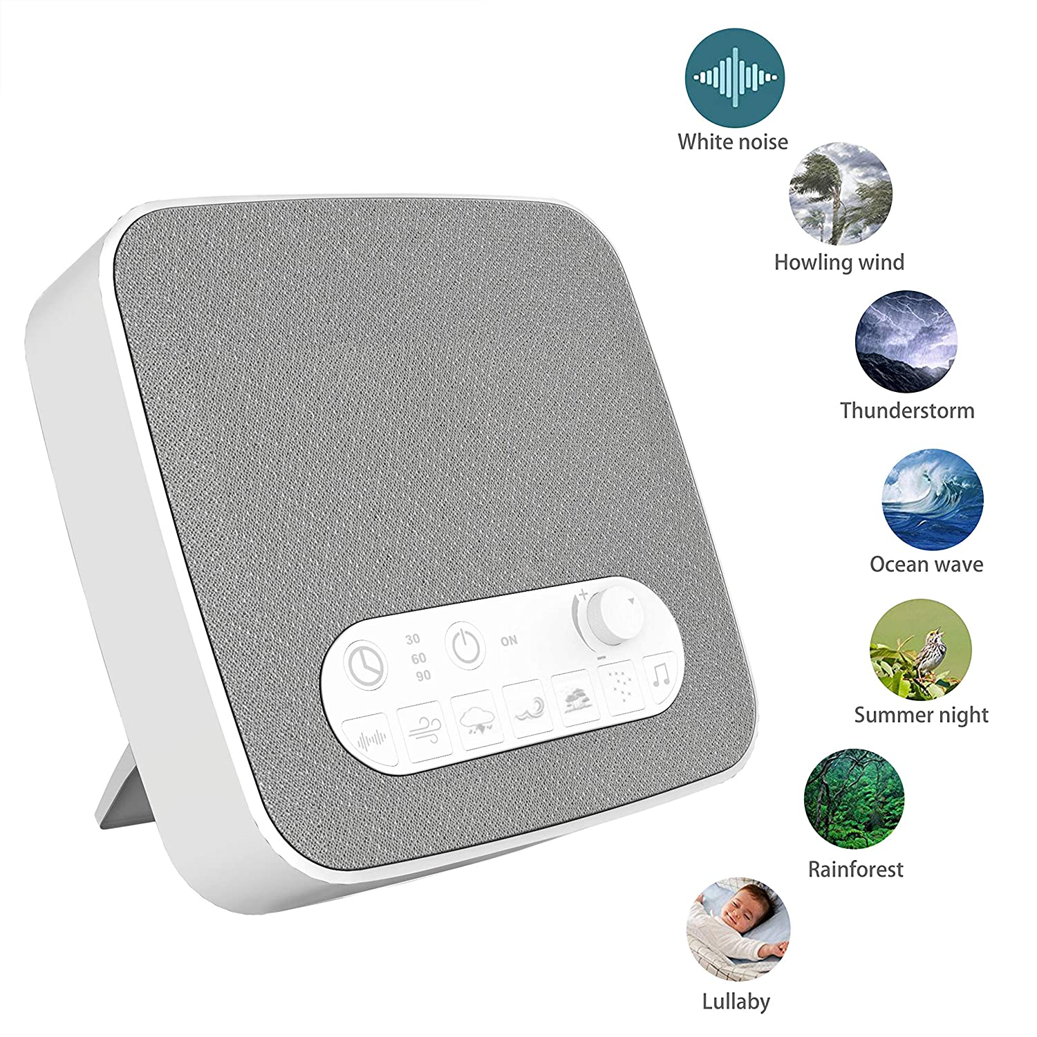 Ovitus S9 White Noise Sleep Sound Machine With Wireless Charging and Bluetooth Audio Playing Functions, 10 Mixable Natural Soothing Therapy Sounds, Create Custom Sound Effect, Suitable for Baby,Adults