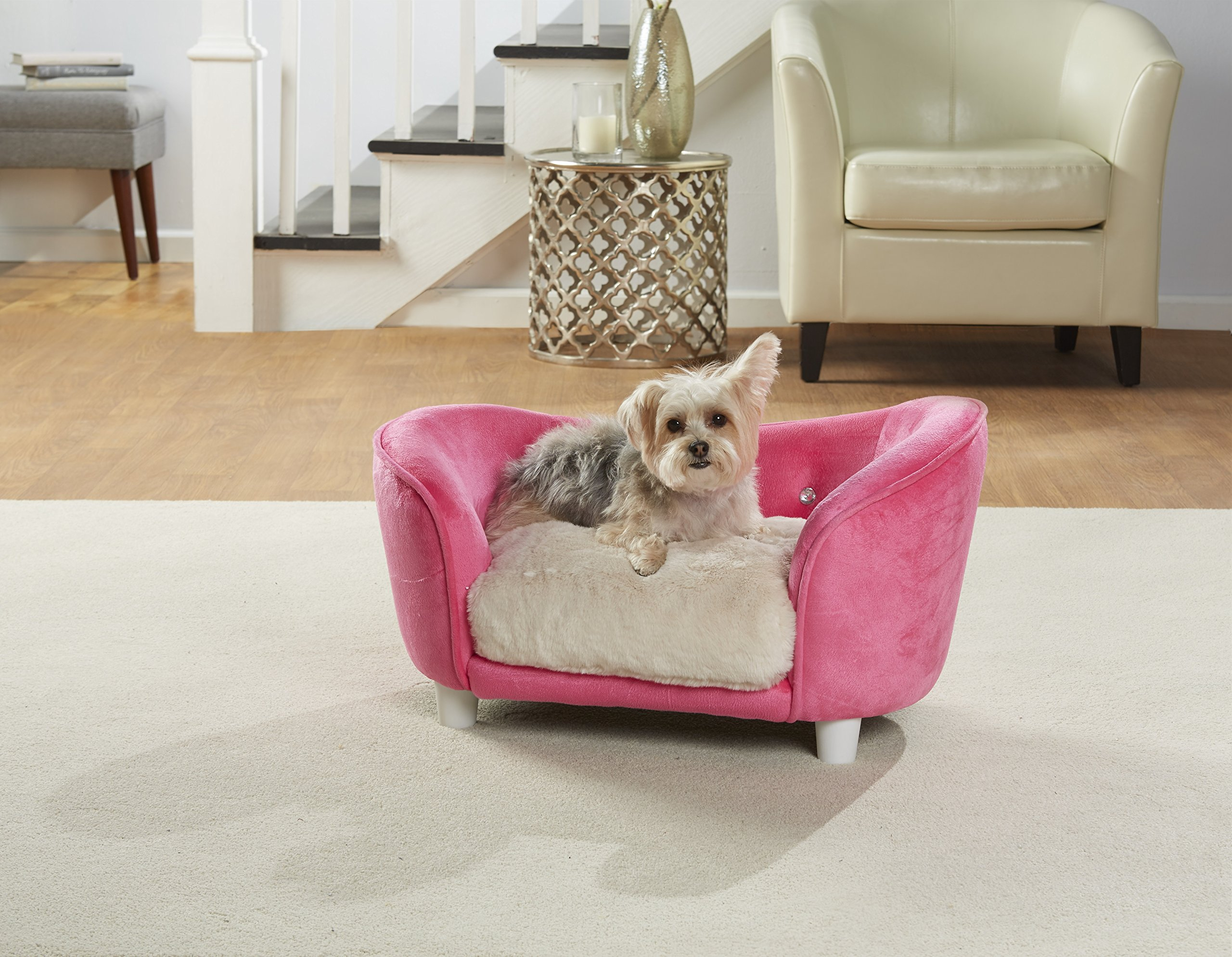 Enchanted Home Pet Ultra Plush Snuggle Pet Bed In Pink with Faux Fur Cushion