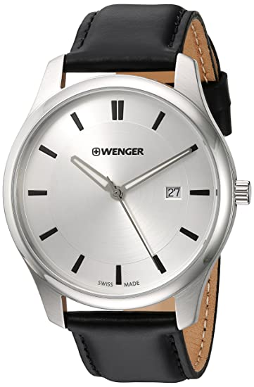 Amazon.com: Wenger Mens City Classic Stainless Steel Swiss-Quartz Watch with Leather Calfskin Strap, Black, 20 (Model: 01.1441.102: Watches
