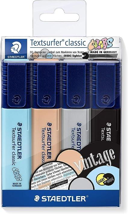 Staedtler 364 CWP4. Rotuladores fluorescentes Textsurfer. Estuche con 4 marcadores de colores variados.: Amazon.es: Oficina y papelería