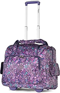 Olympia Deluxe Fashion Rolling Overnighter Travel Tote, Purple Paisley, One Size