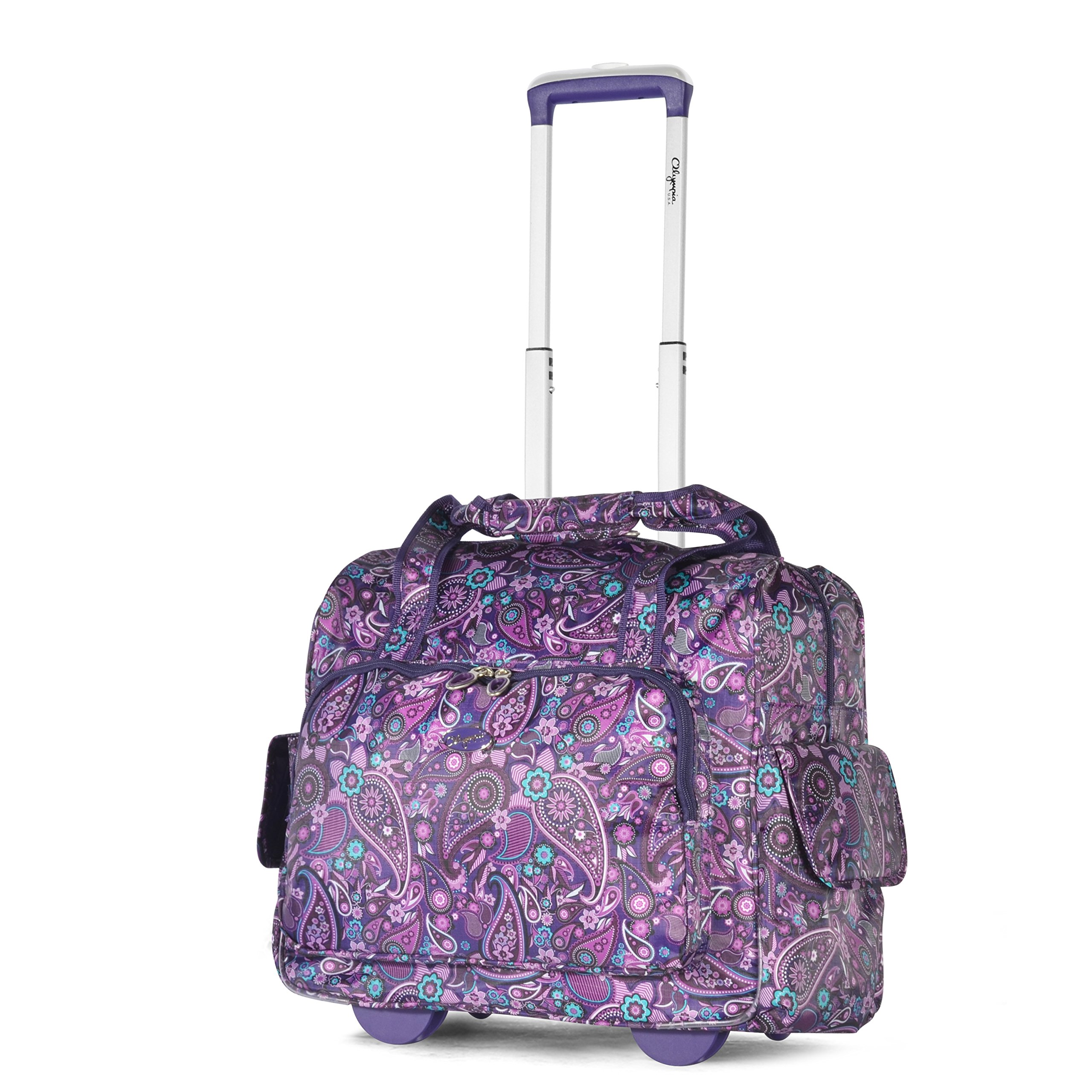 Olympia Deluxe Fashion Rolling Overnighter Travel Tote Purple Paisley One Size