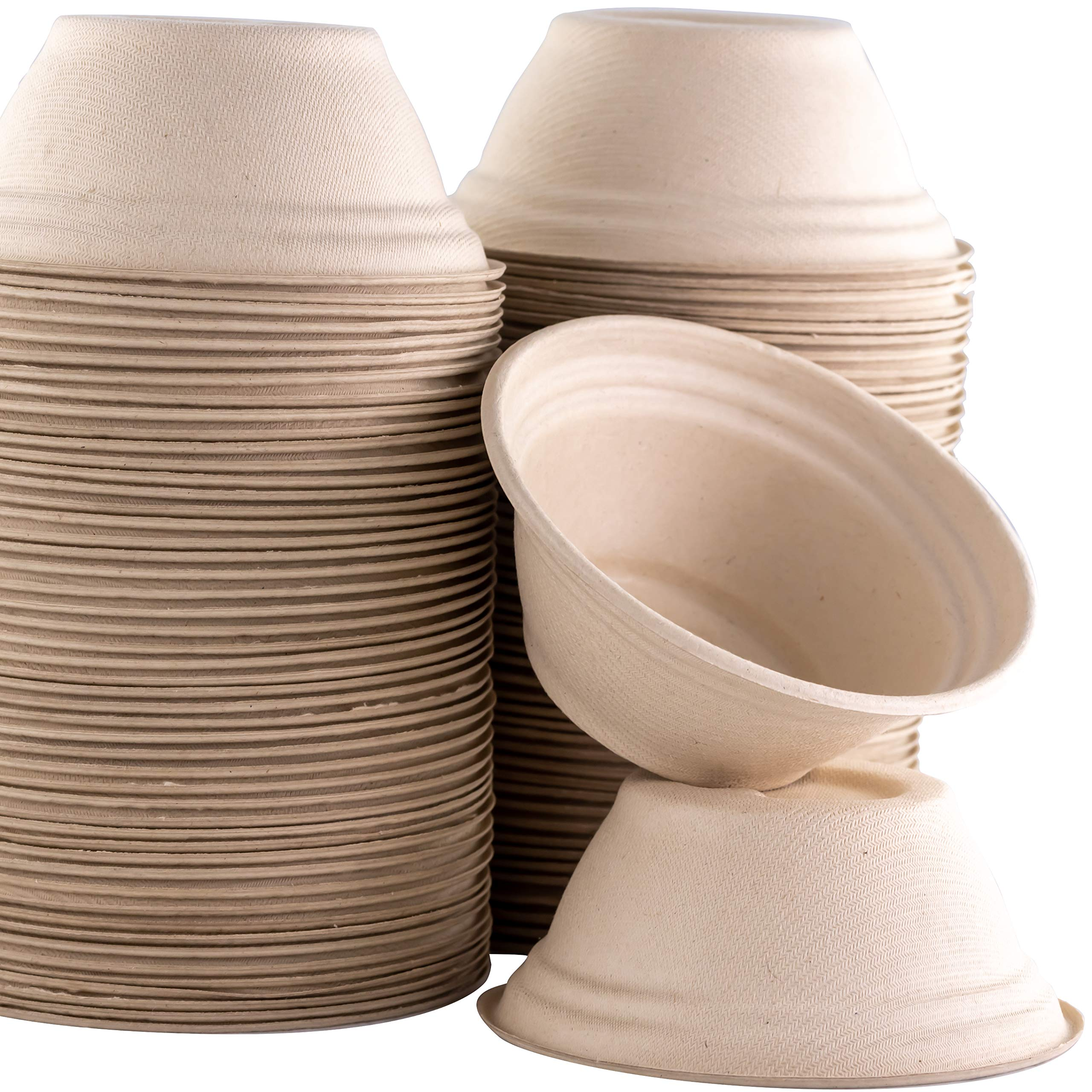 Restaurant-Grade, Biodegradable 8 Oz Bowls Bulk 100 Pk. Great for Ice Cream, Chili or Soup. Disposable, Compostable Wheatstraw Bowls are Allergen-Free, Leakproof and Microwave Safe for Hot or Cold Use