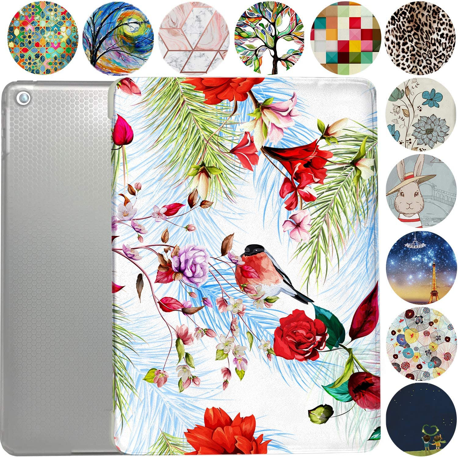"iPad 9.7 Case 2013 iPad Air 1st Generation Slim Smart Protective Cover with Soft TPU Honeycomb Clear Back & Viewing/Typing Stand for iPad 9.7"" Air 1 Gen Auto Sleep/Wake Printed- Birds & Flowers"