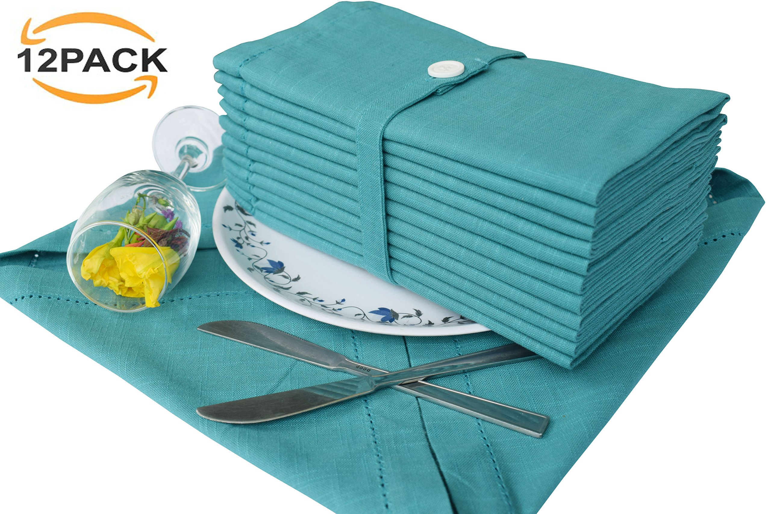 Set of 12 Textured 100% Premium Cotton Cloth Dinner Napkins 20x20 Hemstitched in Teal Color with Designer Linen Looks,Tailored with Hemstitched Mitered Corners and a Generous Hem