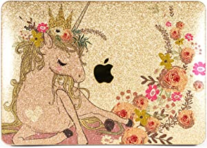 Lex Altern Glitter Case for Apple MacBook Air 13 inch Pro Mac 15 Retina 12 11 2020 2019 2018 2017 Hard Horse Shiny Nature Crystal Flower Gold Silver Animal Cover Cute Laptop Protective Unicorn Roses