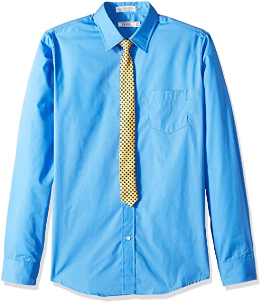 4de2468b5 Izod Big Boys' Long Sleeve Solid Shirt and Tie Set, Blue, 20: Amazon ...