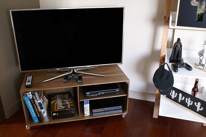 Liza Line Mesa DE Madera, Mueble TV con 3 Compartimentos y Ruedas Giratorias. Mueble Televisor de Pino Nórdico Macizo, Estilo Cajas Vintage con Estantes ...