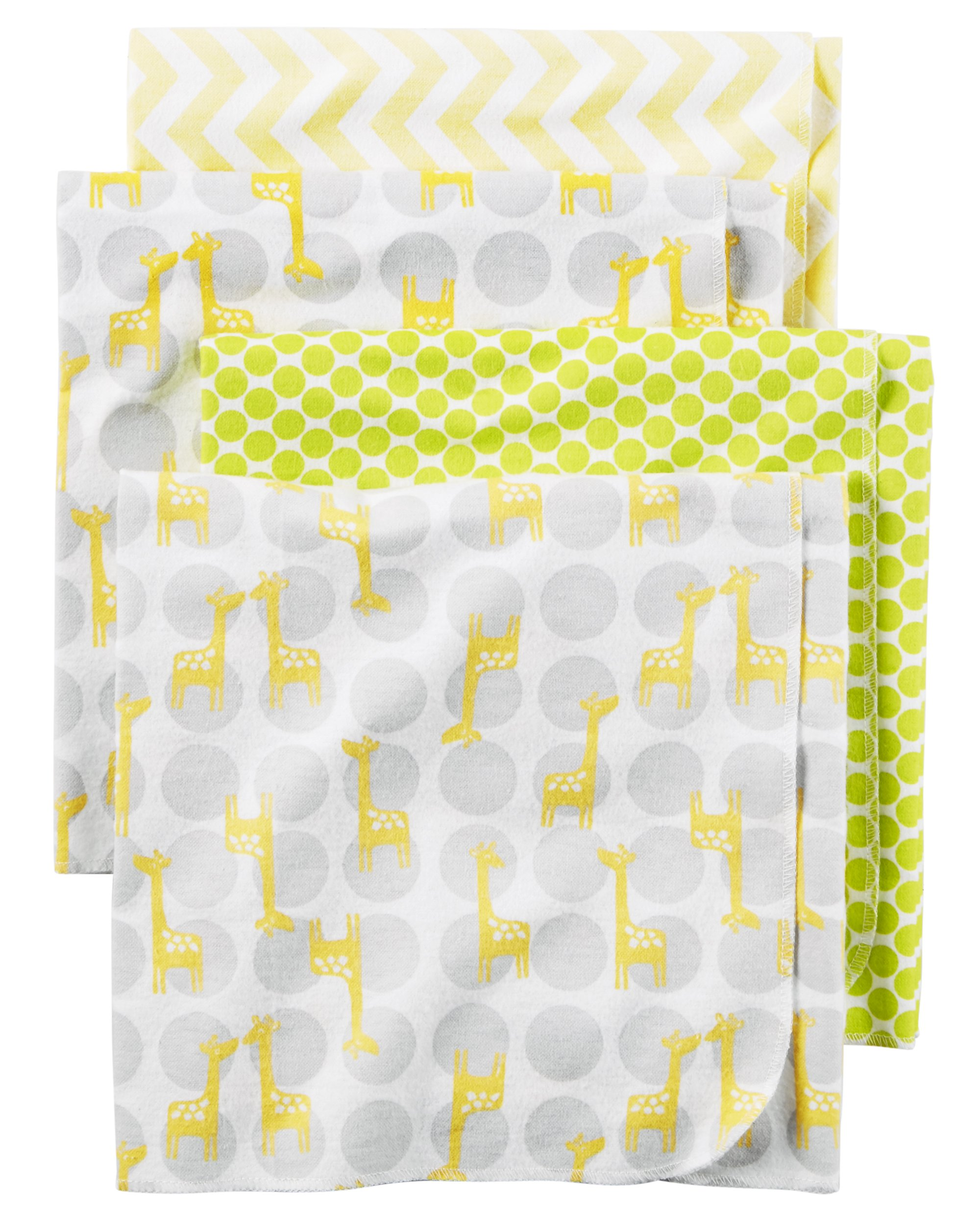 Carter's Baby One Size 4-Pack Flannel Receiving Blankets, Yellow Giraffe by Carter's