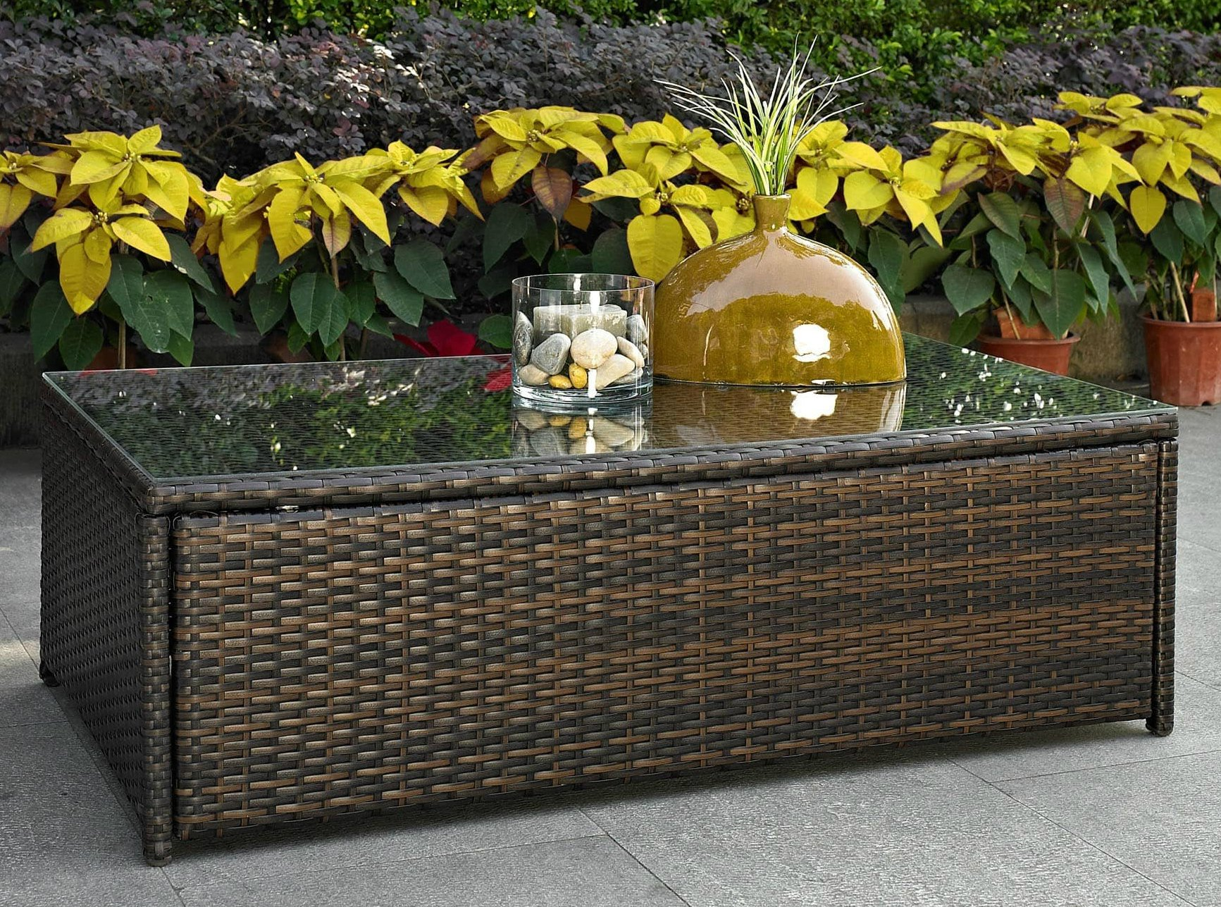 Patio Coffee Table Wicker Glass Top Large Outdoor Furniture