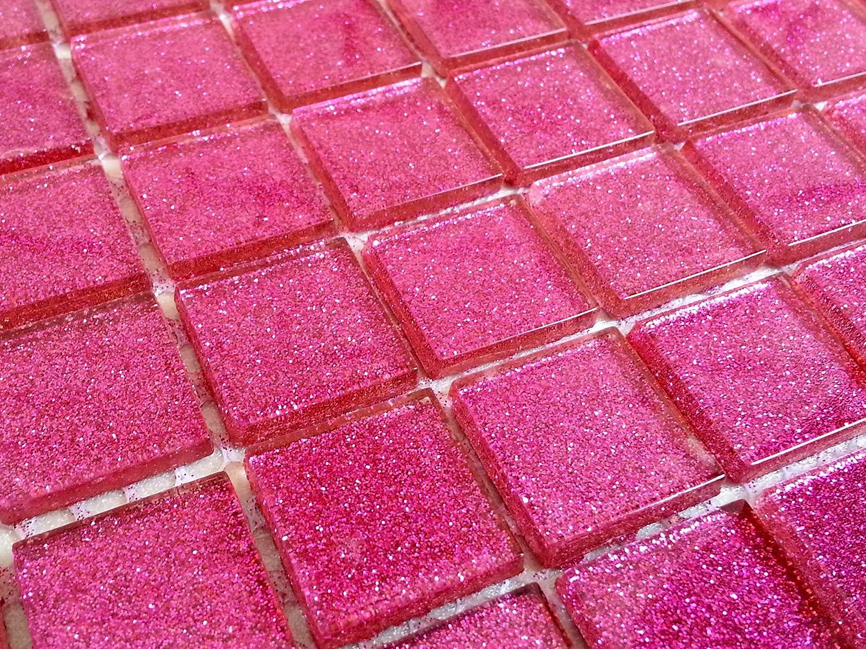 Stuoia con piastrelle in mosaico di vetro colore rosa con strass
