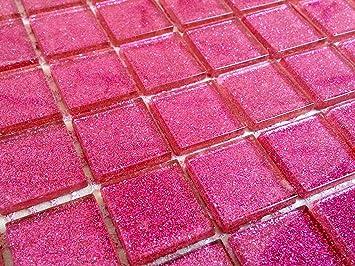 Klarglas Mosaik Fliesen Matte In Dunklem Pink Mit Glitzer - Rosa mosaik fliesen