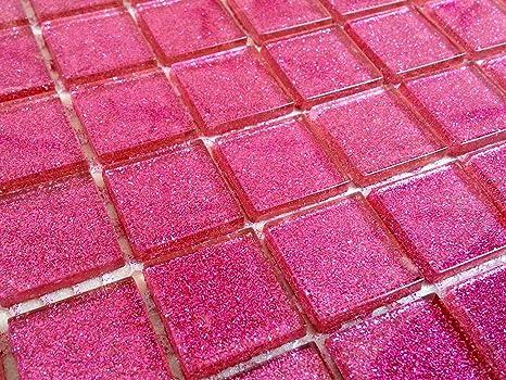 Pareti Glitterate Fai Da Te : Tessere di mosaico in vetro trasparente matte in rosa scuro con