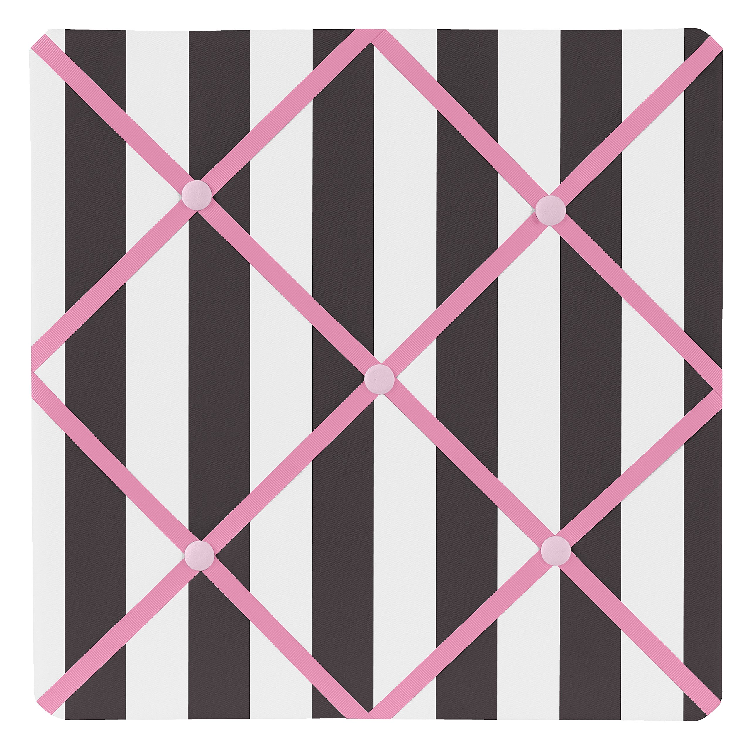 Sweet Jojo Designs Pink, Black and White Stripe Paris Fabric Memory/Memo Photo Bulletin Board