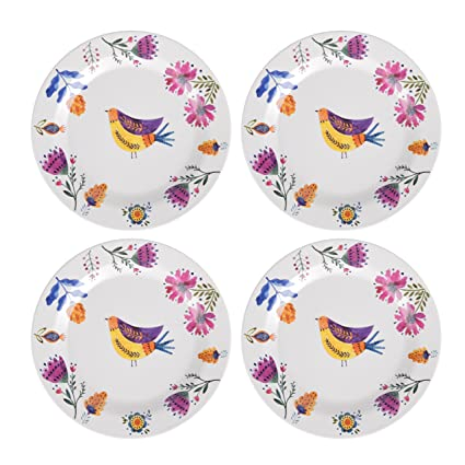 Boo In Bloom Reusable Floral Bamboo Melamine Dinner Plates u2013 Set of 4 u2013 Eco-  sc 1 st  Amazon.com & Amazon.com | Boo In Bloom Reusable Floral Bamboo Melamine Dinner ...