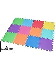 Edukit Foam Play Mat Tiles – 12 Pack EVA – Interlocking Floor Mats for Children – Multicoloured Foam Tiles