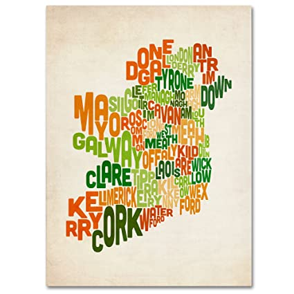 Map Of Ireland 32.Amazon Com Ireland Text Map By Michael Tompsett Work 22 By 32 Inch