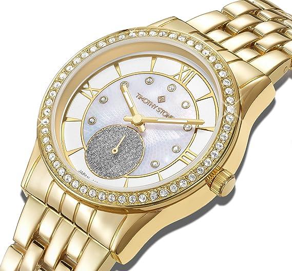 "3ad7242e0b0b Timothy Stone Women s H-012-ALGD ""Huston quot  Gold Watch - Swarovski  Crystal"
