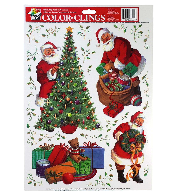 Amazoncom Paper Magic Static Cling Window Christmas Decorations (Snowmen, Santa,