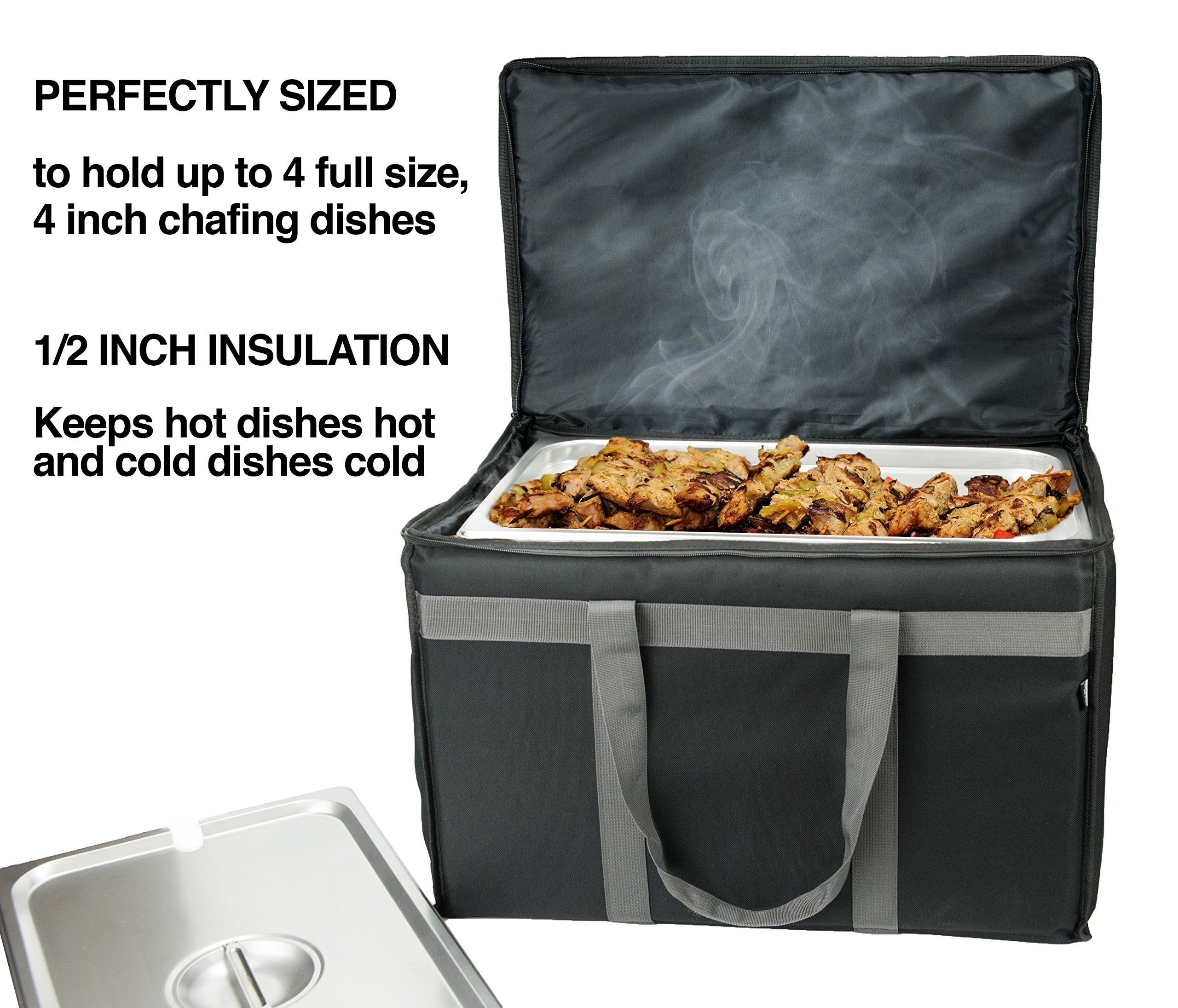 Food Delivery Bag - Premium Commercial Grade Made to accommodate Full Size Chafing Steam Trays - Thick Insulation Cooler Bags with Sturdy Padded Handles - Keeps Foods hot or Cold by Nature's Wild (Image #3)