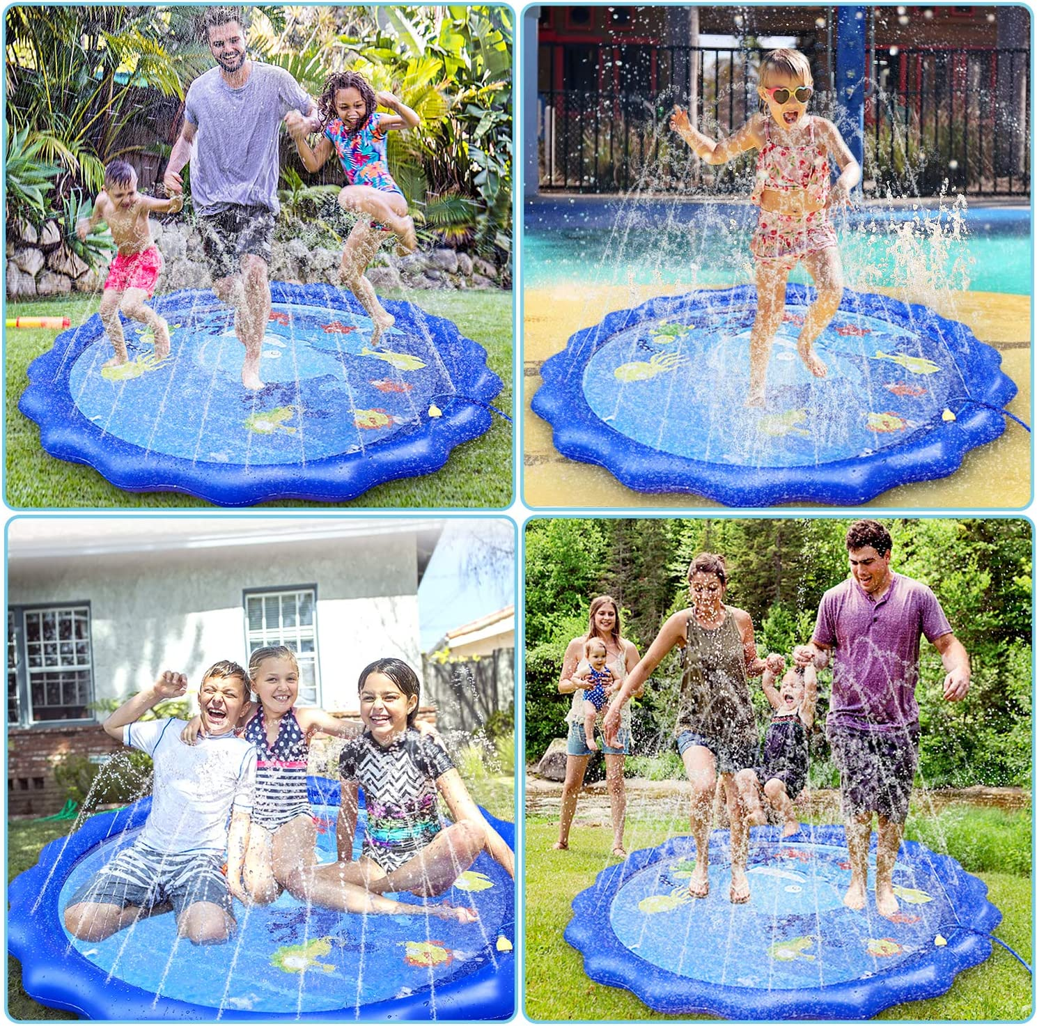 "Giftinthebox Sprinkler &Splash Pad for Kids, 68"" Splash Play Mat Water Toy for Toddlers , Outdoor Water Mat Toys, Baby Infant Wading Swimming Pool Party Outdoor Water Toy for Girls Boys: Toys & Games"